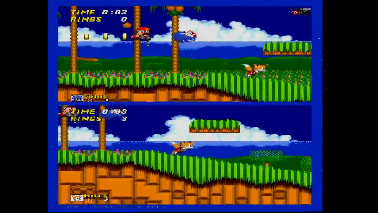 Sonic 2's Emerald Hill Zone 2 player gameplay