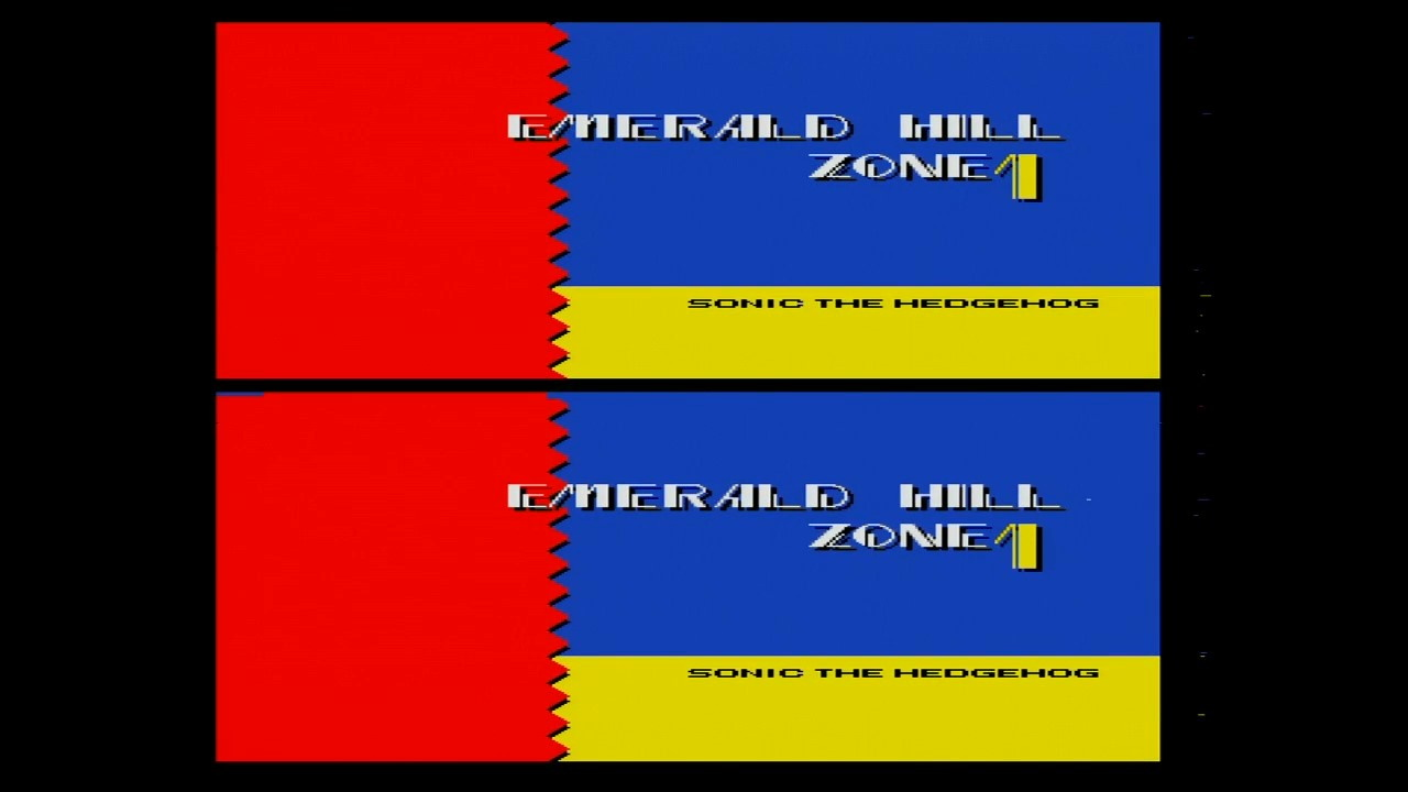 Sonic 2's Emerald Hill Zone title card, only distorted as much as it's supposed to be