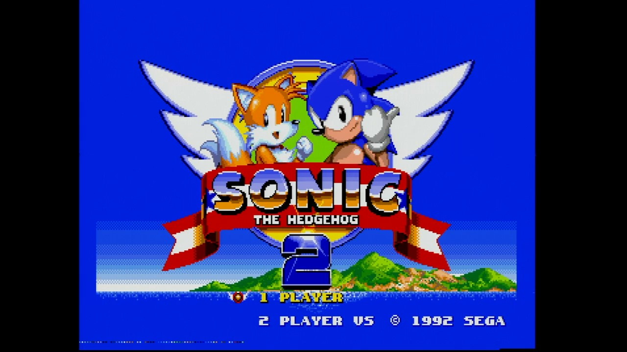 Sonic the Hedgehog 2 title screen. A slight distortion is seen around Tails