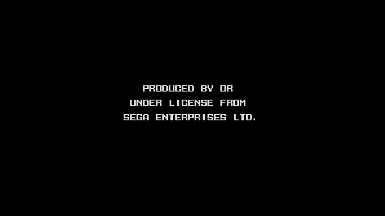 A black screen with 'PRODUCED BY OR UNDER LICENSE FROM SEGA ENTERPRISES LTD.' in white