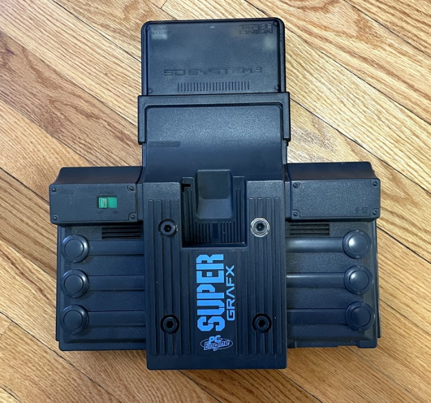 A SuperGrafx with an SD System 3 plugged in