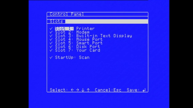 The Apple IIgs control panel, showing the default slot layout