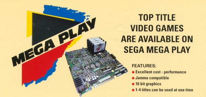 Sega Mega Play flyer, advertising its excellent cost-performance and the ability to use up to four games at once