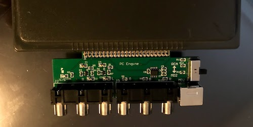 A photo of a PCB attached to a SuperGrafx