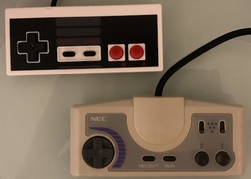 The NES and PC Engine controllers side by side. They are very similar