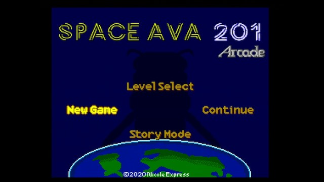 A screenshot of Space Ava 201 showing more options on the title screen, because the cheat codes below were used