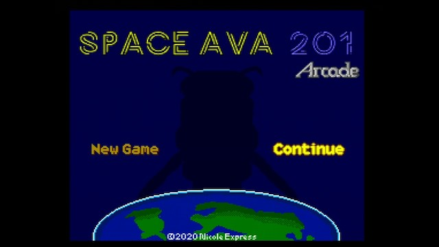 A screenshot of Space Ava 201 running with the Arcade Card says 'Arcade' under the title