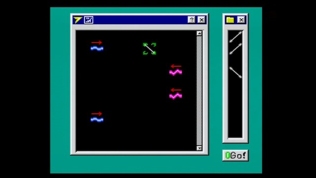 A screenshot of Space Ava 201 showing mirror puzzle mode, which is aesthetically similar to Windows 95 for some reason