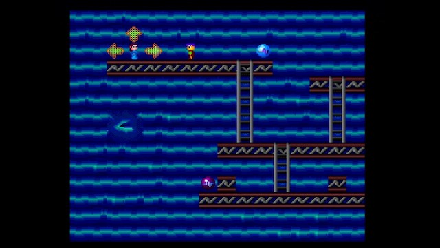 A screenshot of Space Ava 201 showing a side-scrolling mode on a blue planet