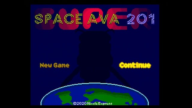 A screenshot of Space Ava 201 running with enhanced SuperGrafx features used to write SUPER behind the title