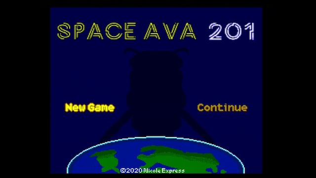 The title screen of Space Ava 201, a female figure looming ominously over a flat earth